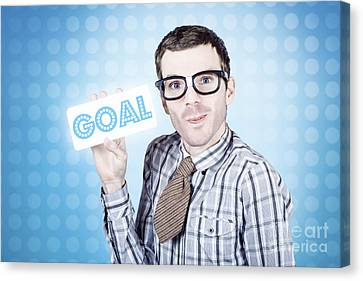 Nerd Businessman Holding Goal Sign Board  Canvas Print by Jorgo Photography - Wall Art Gallery