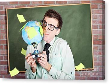 Nerd Man Holding Earth World Globe In Classroom Canvas Print by Jorgo Photography - Wall Art Gallery