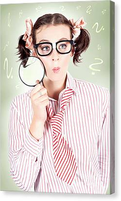 Nerdy School Girl Student With Education Question Canvas Print