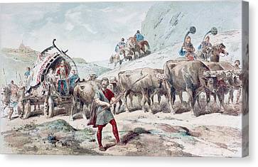 Nervian Cart Drawn By Oxen. After A Canvas Print