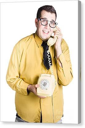 Nervous Man Taking Important Phone Call Canvas Print by Jorgo Photography - Wall Art Gallery