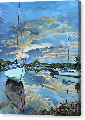 Canvas Print featuring the painting Nestled In For The Night At Mylor Bridge - Cornwall Uk - Sailboat  by Jan Dappen