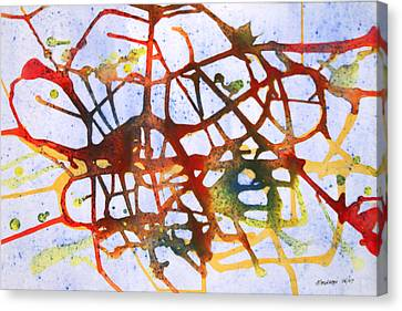 Canvas Print featuring the painting Neuron by Mordecai Colodner