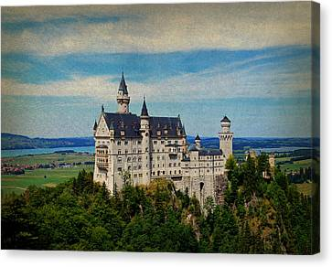 Neuschwanstein Castle Bavaria Germany Vintage Postcard Image Canvas Print by Design Turnpike