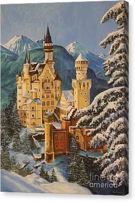 Neuschwanstein Castle In Winter Canvas Print