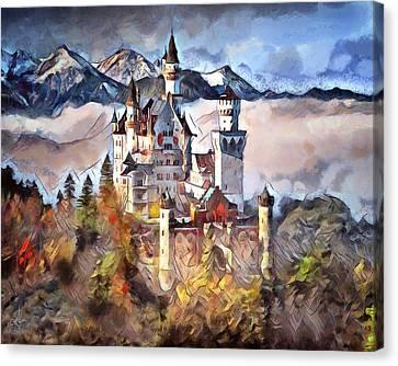 Canvas Print featuring the digital art Neuschwanstein Castle by Pennie McCracken