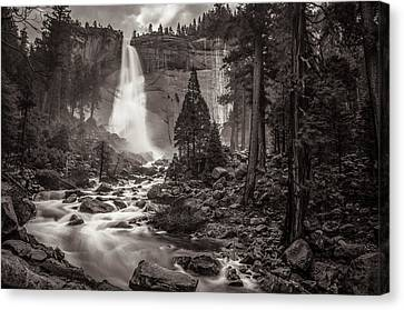 Canvas Print featuring the photograph Nevada Fall Monochrome by Scott McGuire