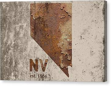 Cement Canvas Print - Nevada State Map Industrial Rusted Metal On Cement Wall With Founding Date Series 044 by Design Turnpike
