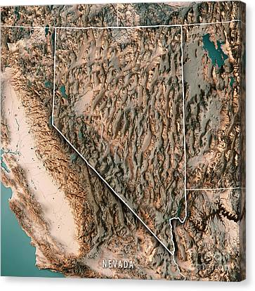 Canvas Print - Nevada State Usa 3d Render Topographic Map Neutral Border by Frank Ramspott