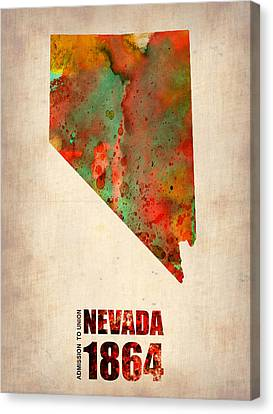 Nevada Watercolor Map Canvas Print by Naxart Studio