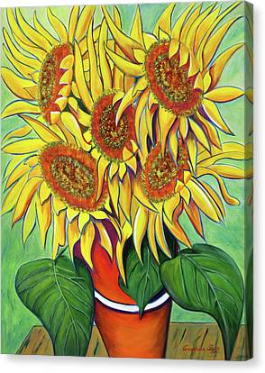Never Enough Sunflowers Canvas Print by Andrea Folts