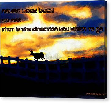 Never Look Back Unless Canvas Print by Irma BACKELANT GALLERIES