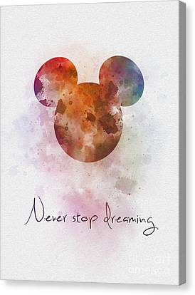 Never Stop Dreaming Canvas Print by Rebecca Jenkins