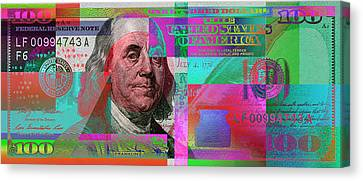 Canvas Print featuring the digital art New 2009 Series Pop Art Colorized Us One Hundred Dollar Bill  No. 3 by Serge Averbukh