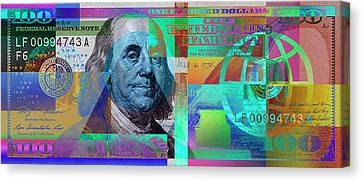 New 2009 Series Pop Art Colorized Us One Hundred Dollar Bill  No. 2 Canvas Print