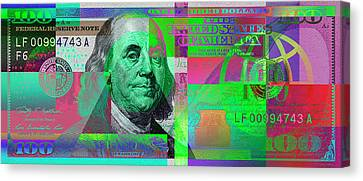 New 2009 Series Pop Art Colorized Us One Hundred Dollar Bill  No. 4 Canvas Print