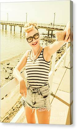 New Age Pin Up Taking Phone Selfie Canvas Print by Jorgo Photography - Wall Art Gallery
