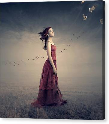 Red Dress Canvas Print - New Beginnings by Johan Swanepoel