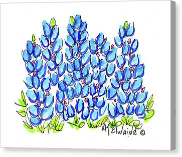 New Bluebonnet 2016 Watercolor Painting By Kmcelwaine Canvas Print by Kathleen McElwaine