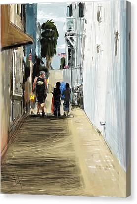 Fire Escape Canvas Print - New Boogie Boards by Russell Pierce
