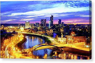 Canvas Print featuring the photograph New Center Of Vilnius by Fabrizio Troiani