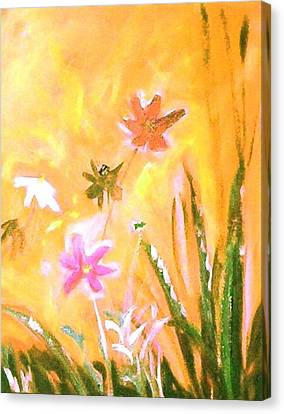 Canvas Print featuring the painting New Daisies by Winsome Gunning