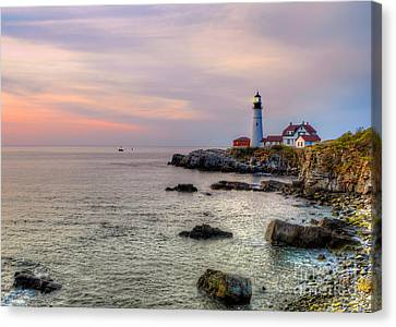 Rocky Maine Coast Canvas Print - New Day At Portland Head Light by Jerry Fornarotto