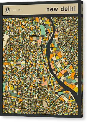 New Delhi City Map Canvas Print by Jazzberry Blue