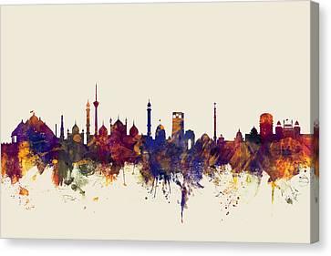 New Delhi India Skyline Canvas Print by Michael Tompsett