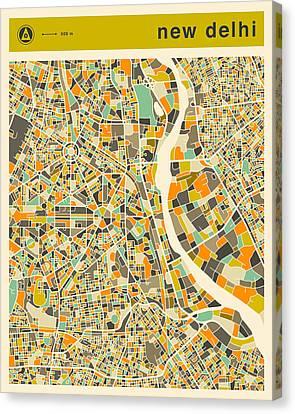 New Delhi Map 2 Canvas Print by Jazzberry Blue