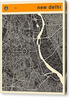 New Delhi Map Canvas Print by Jazzberry Blue