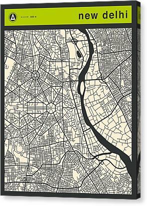 New Delhi Street Map Canvas Print by Jazzberry Blue