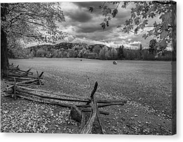 New England Autumn Field Bw Canvas Print by Bill Wakeley