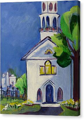 Canvas Print featuring the painting New England Church by Betty Pieper