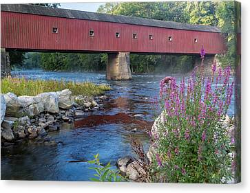 Autumn Landscape Canvas Print - New England Covered Bridge Connecticut by Bill Wakeley