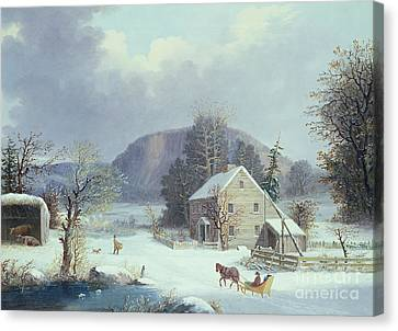 New England Farm By A Winter Road, 1854  Canvas Print by George Durrie