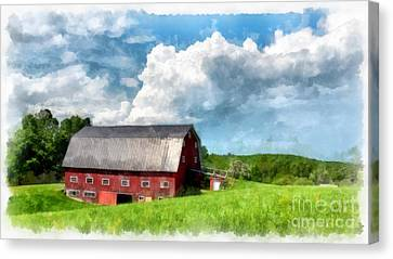 Maine Barns Canvas Print - New England Farm Landscape Watercolor by Edward Fielding