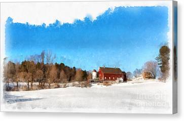 New England Farm Winter South Woodstock Vermont Canvas Print by Edward Fielding