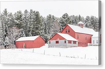 New England Farm With Red Barns In Winter Canvas Print