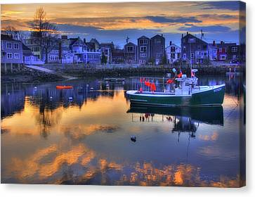 Canvas Print featuring the photograph New England Harbor Sunset - Rockport, Ma by Joann Vitali