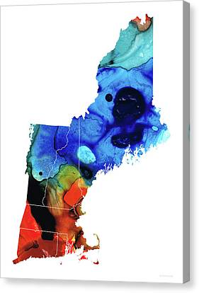 Rhode Island Map Canvas Print - New England - Map By Sharon Cummings by Sharon Cummings