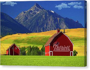 Canvas Print featuring the photograph New England Patriots Barn by Movie Poster Prints