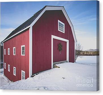 Canvas Print featuring the photograph New England Red Barn Winter Orford by Edward Fielding