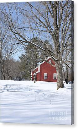 New England Red House Winter Canvas Print