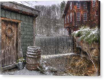 New England Snow Scenes - Frye's Measure Mill - Wilton, Nh Canvas Print by Joann Vitali