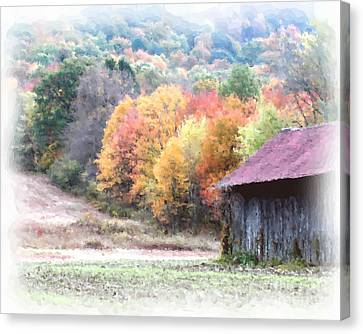 New England Tobacco Barn In Watercolor Canvas Print