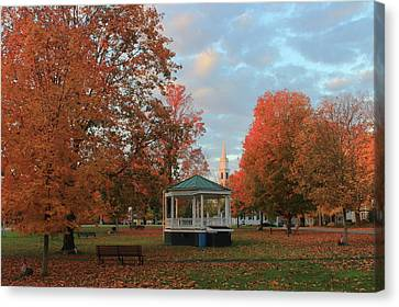 New England Town Common Autumn Morning Canvas Print by John Burk