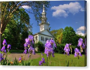 New England White Church In Spring Canvas Print
