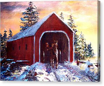 Canvas Print featuring the painting New England Winter Crossing by Jack Skinner
