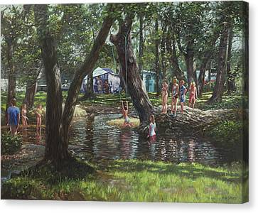New Forest Camping Fun Canvas Print